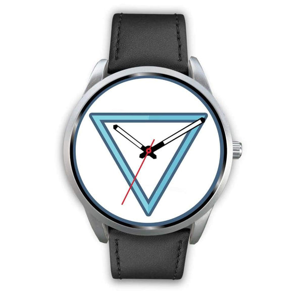 Water Element Alchemy Wiccan Symbol Custom-Designed Wrist Watch - Mens 40Mm / Black Leather - Silver Watch