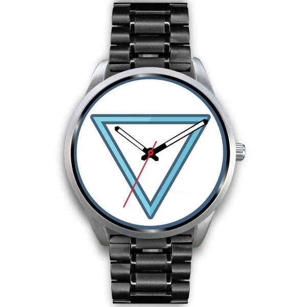 Water Element Alchemy Wiccan Symbol Custom-Designed Wrist Watch - Mens 40Mm / Black Metal Link - Silver Watch