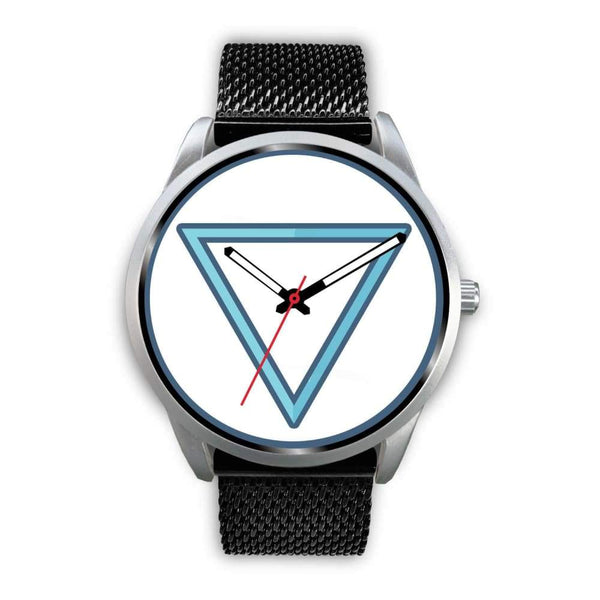 Water Element Alchemy Wiccan Symbol Custom-Designed Wrist Watch - Mens 40Mm / Black Metal Mesh - Silver Watch