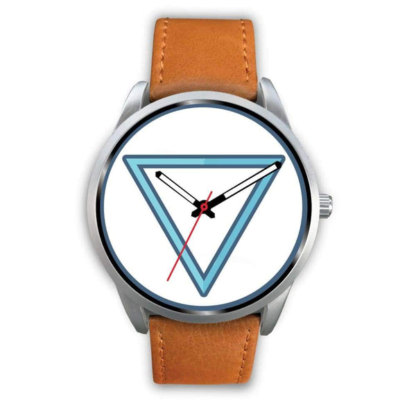 Water Element Alchemy Wiccan Symbol Custom-Designed Wrist Watch - Mens 40Mm / Brown Leather - Silver Watch