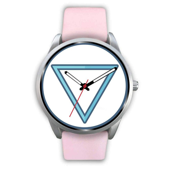 Water Element Alchemy Wiccan Symbol Custom-Designed Wrist Watch - Mens 40Mm / Pink Leather - Silver Watch