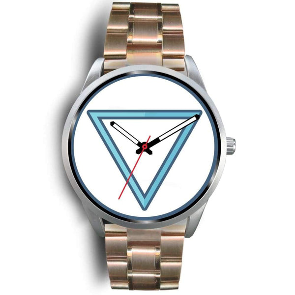 Water Element Alchemy Wiccan Symbol Custom-Designed Wrist Watch - Mens 40Mm / Rose Gold Metal Link - Silver Watch
