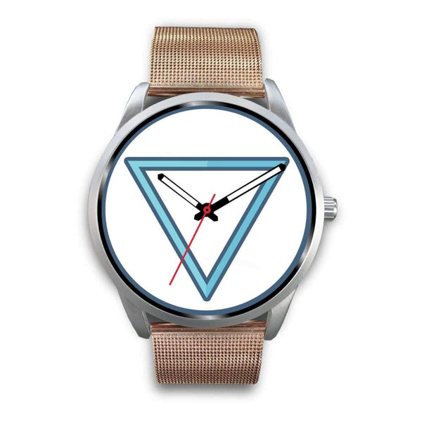 Water Element Alchemy Wiccan Symbol Custom-Designed Wrist Watch - Mens 40Mm / Rose Gold Metal Mesh - Silver Watch