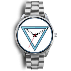 Water Element Alchemy Wiccan Symbol Custom-Designed Wrist Watch - Mens 40Mm / Silver Metal Link - Silver Watch