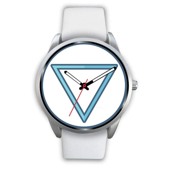 Water Element Alchemy Wiccan Symbol Custom-Designed Wrist Watch - Mens 40Mm / White Leather - Silver Watch
