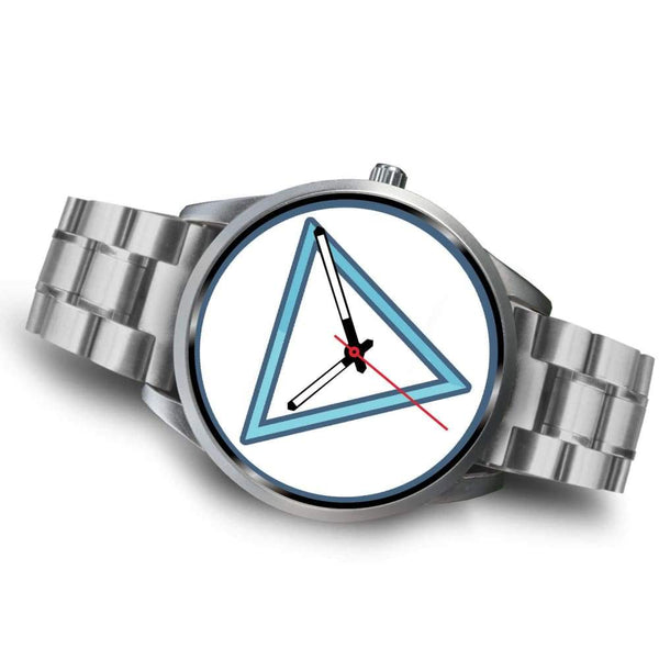 Water Element Alchemy Wiccan Symbol Custom-Designed Wrist Watch - Silver Watch