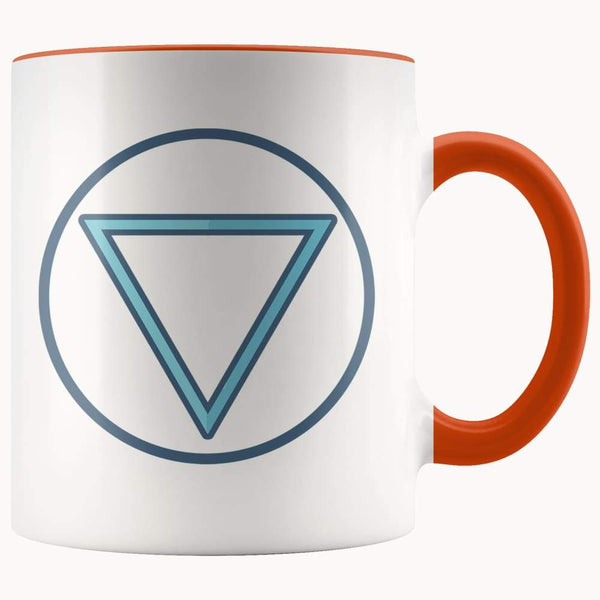Water Element Wiccan Alchemy Symbol 11Oz. Ceramic White Mug - Orange - Drinkware