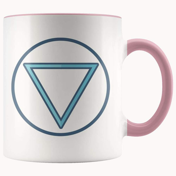 Water Element Wiccan Alchemy Symbol 11Oz. Ceramic White Mug - Pink - Drinkware