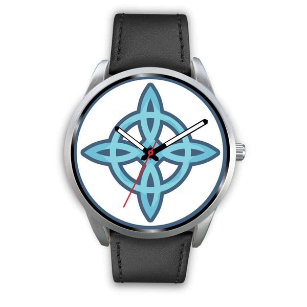 Witches Knot Wiccan Pagan Spiritual Symbol Custom-Designed Wrist Watch - Mens 40Mm / Black Leather - Silver Watch