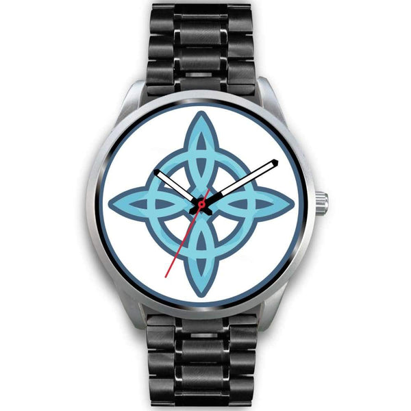 Witches Knot Wiccan Pagan Spiritual Symbol Custom-Designed Wrist Watch - Mens 40Mm / Black Metal Link - Silver Watch