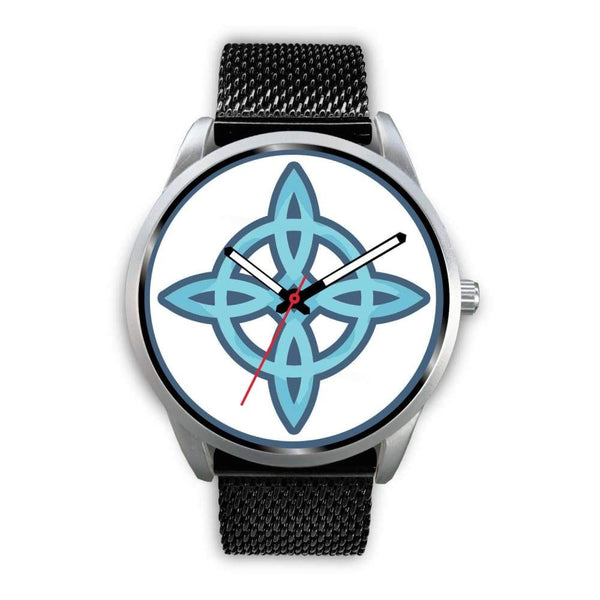 Witches Knot Wiccan Pagan Spiritual Symbol Custom-Designed Wrist Watch - Mens 40Mm / Black Metal Mesh - Silver Watch