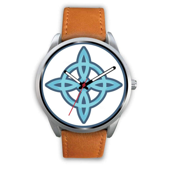 Witches Knot Wiccan Pagan Spiritual Symbol Custom-Designed Wrist Watch - Mens 40Mm / Brown Leather - Silver Watch