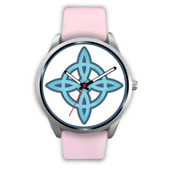 Witches Knot Wiccan Pagan Spiritual Symbol Custom-Designed Wrist Watch - Mens 40Mm / Pink Leather - Silver Watch