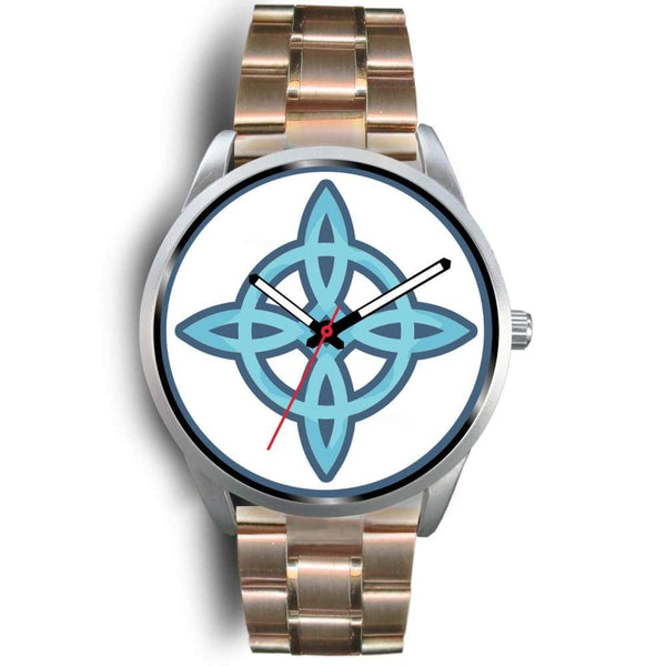 Witches Knot Wiccan Pagan Spiritual Symbol Custom-Designed Wrist Watch - Mens 40Mm / Rose Gold Metal Link - Silver Watch