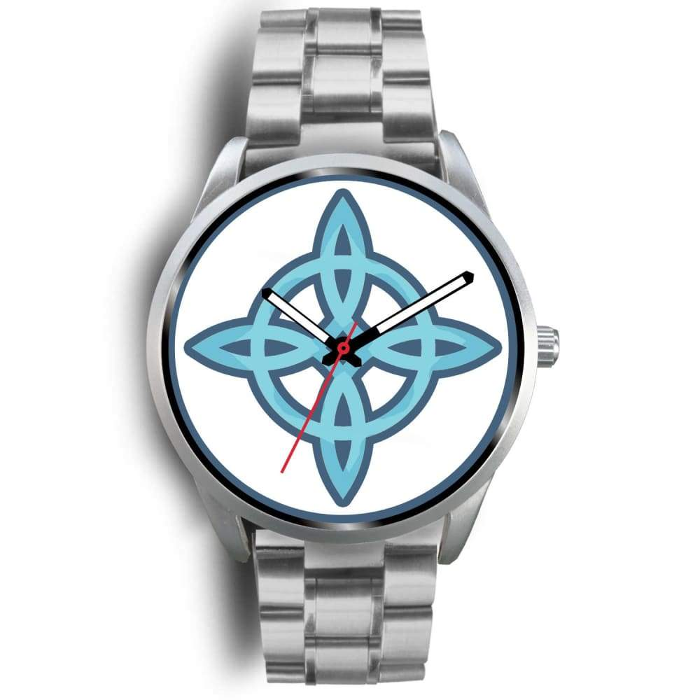 Witches Knot Wiccan Pagan Spiritual Symbol Custom-Designed Wrist Watch - Mens 40Mm / Silver Metal Link - Silver Watch