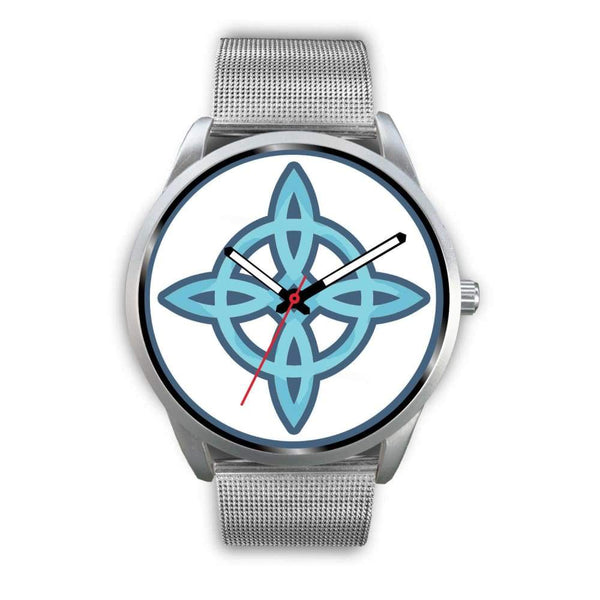 Witches Knot Wiccan Pagan Spiritual Symbol Custom-Designed Wrist Watch - Mens 40Mm / Silver Metal Mesh - Silver Watch