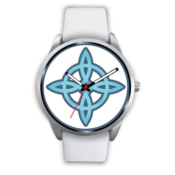 Witches Knot Wiccan Pagan Spiritual Symbol Custom-Designed Wrist Watch - Mens 40Mm / White Leather - Silver Watch