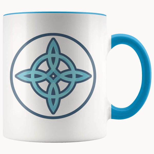 Witches Knot Wiccan Pagan Symbol 11Oz. Ceramic White Mug - Blue - Drinkware