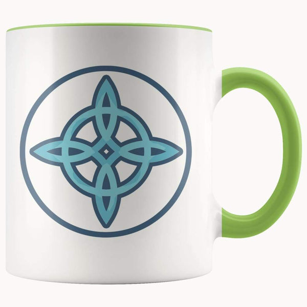 Witches Knot Wiccan Pagan Symbol 11Oz. Ceramic White Mug - Green - Drinkware