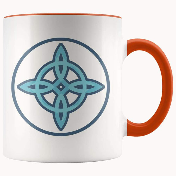 Witches Knot Wiccan Pagan Symbol 11Oz. Ceramic White Mug - Orange - Drinkware