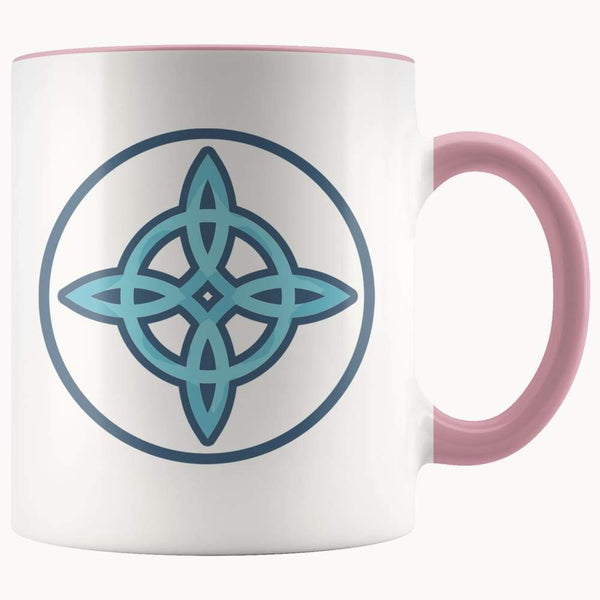 Witches Knot Wiccan Pagan Symbol 11Oz. Ceramic White Mug - Pink - Drinkware