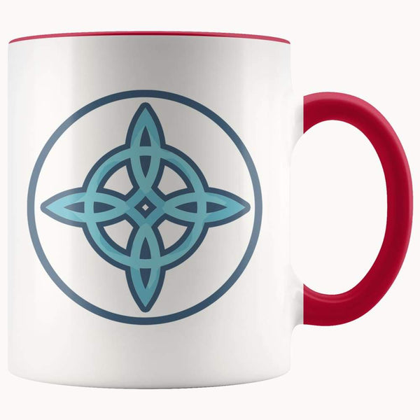 Witches Knot Wiccan Pagan Symbol 11Oz. Ceramic White Mug - Red - Drinkware