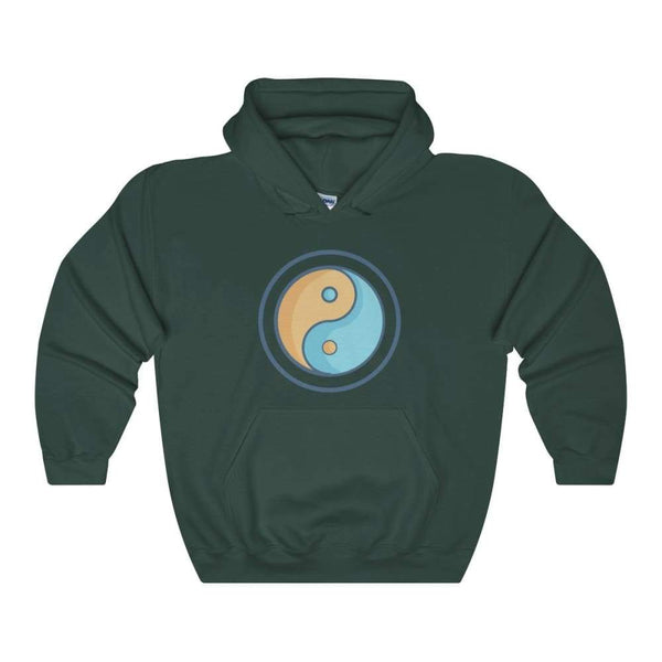 Yin Yang Buddhist Pagan Wiccan Symbol Unisex Heavy Blend Hooded Sweatshirt - Forest Green / S - Hoodie