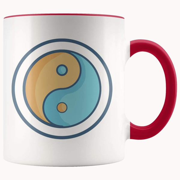 Yin Yang Buddhist Wiccan Symbol 11Oz. Ceramic White Mug - Red - Drinkware