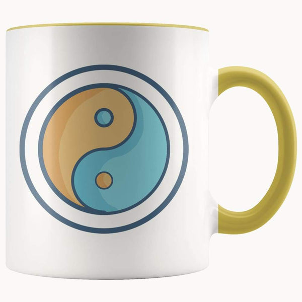 Yin Yang Buddhist Wiccan Symbol 11Oz. Ceramic White Mug - Yellow - Drinkware