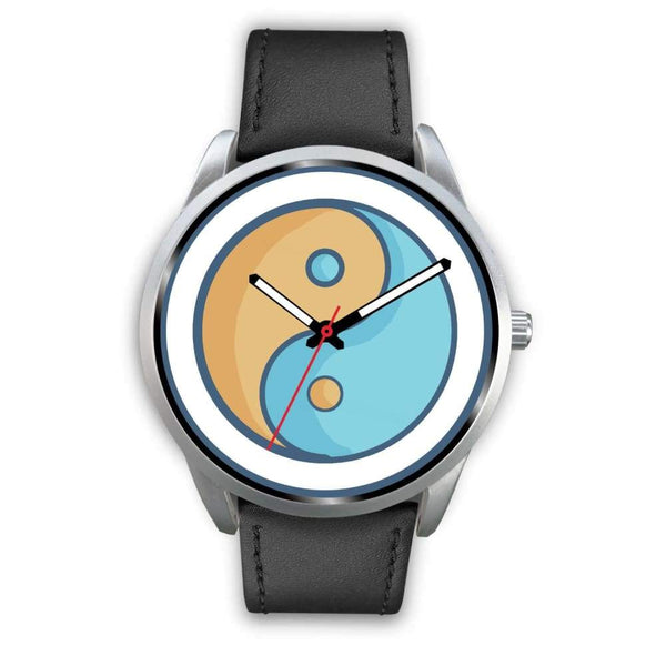 Yin Yang Buddhist Wiccan Symbol Custom-Designed Wrist Watch - Mens 40Mm / Black Leather - Silver Watch