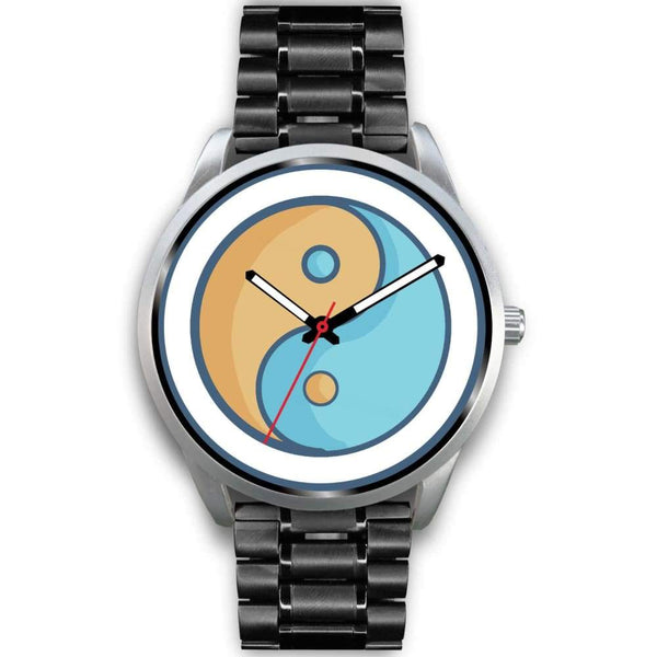 Yin Yang Buddhist Wiccan Symbol Custom-Designed Wrist Watch - Mens 40Mm / Black Metal Link - Silver Watch