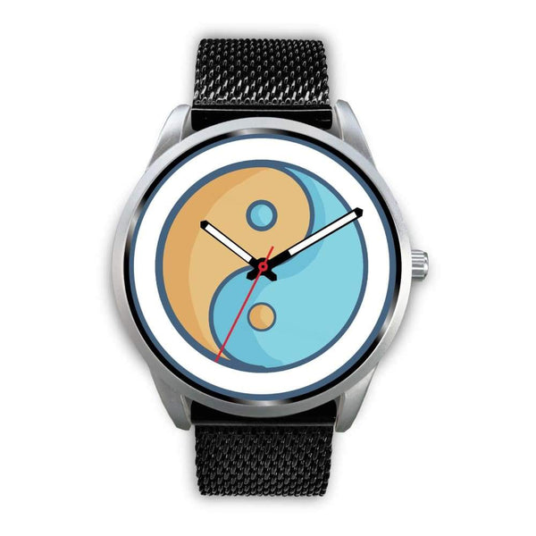 Yin Yang Buddhist Wiccan Symbol Custom-Designed Wrist Watch - Mens 40Mm / Black Metal Mesh - Silver Watch