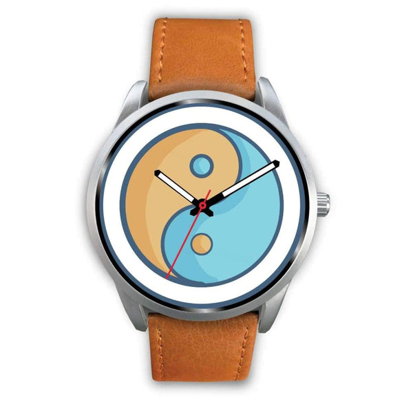 Yin Yang Buddhist Wiccan Symbol Custom-Designed Wrist Watch - Mens 40Mm / Brown Leather - Silver Watch