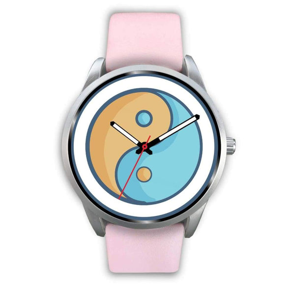 Yin Yang Buddhist Wiccan Symbol Custom-Designed Wrist Watch - Mens 40Mm / Pink Leather - Silver Watch