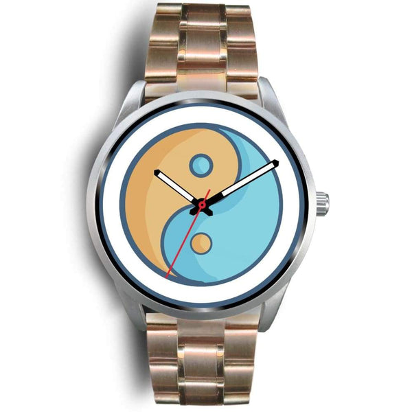 Yin Yang Buddhist Wiccan Symbol Custom-Designed Wrist Watch - Mens 40Mm / Rose Gold Metal Link - Silver Watch
