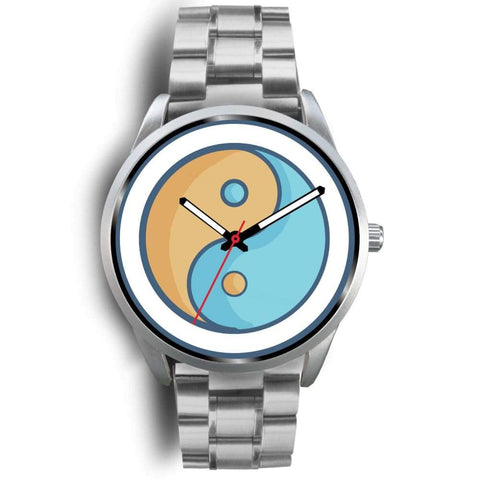 Yin Yang Buddhist Wiccan Symbol Custom-Designed Wrist Watch - Mens 40Mm / Silver Metal Link - Silver Watch