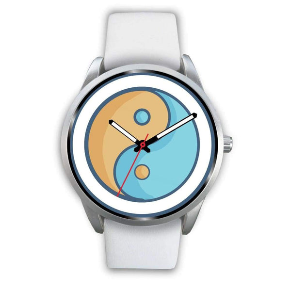 Yin Yang Buddhist Wiccan Symbol Custom-Designed Wrist Watch - Mens 40Mm / White Leather - Silver Watch