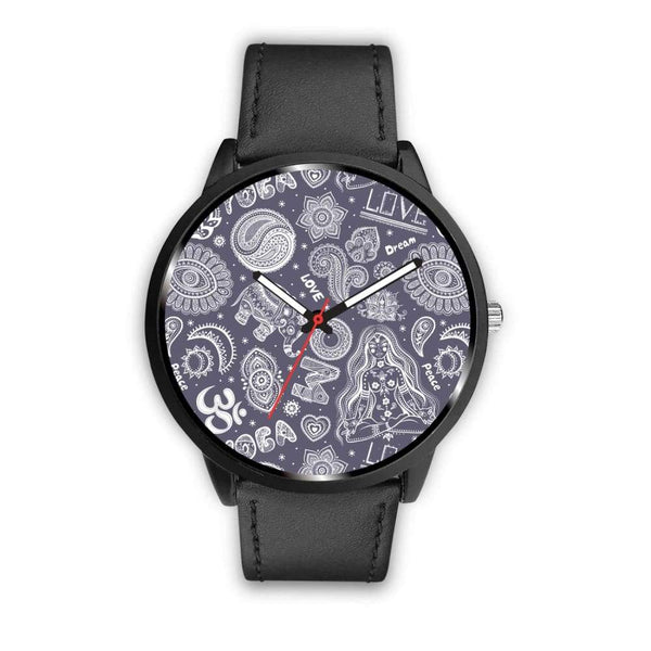 Yoga Om Lucky Elephant Lotus Buddhist Design Custom-Designed Wrist Watch - Mens 40Mm / Black - Watch
