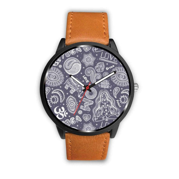 Yoga Om Lucky Elephant Lotus Buddhist Design Custom-Designed Wrist Watch - Mens 40Mm / Brown - Watch
