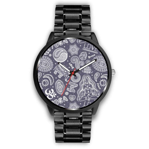 Yoga Om Lucky Elephant Lotus Buddhist Design Custom-Designed Wrist Watch - Mens 40Mm / Metal Link - Watch