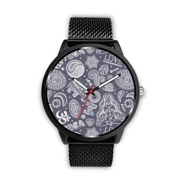 Yoga Om Lucky Elephant Lotus Buddhist Design Custom-Designed Wrist Watch - Mens 40Mm / Metal Mesh - Watch