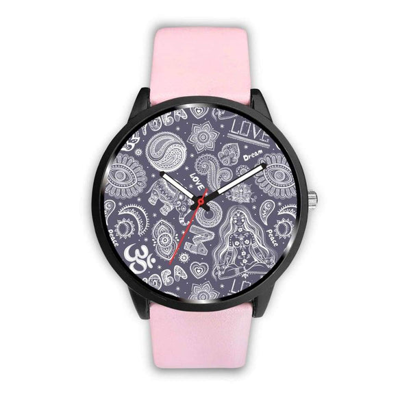 Yoga Om Lucky Elephant Lotus Buddhist Design Custom-Designed Wrist Watch - Mens 40Mm / Pink - Watch