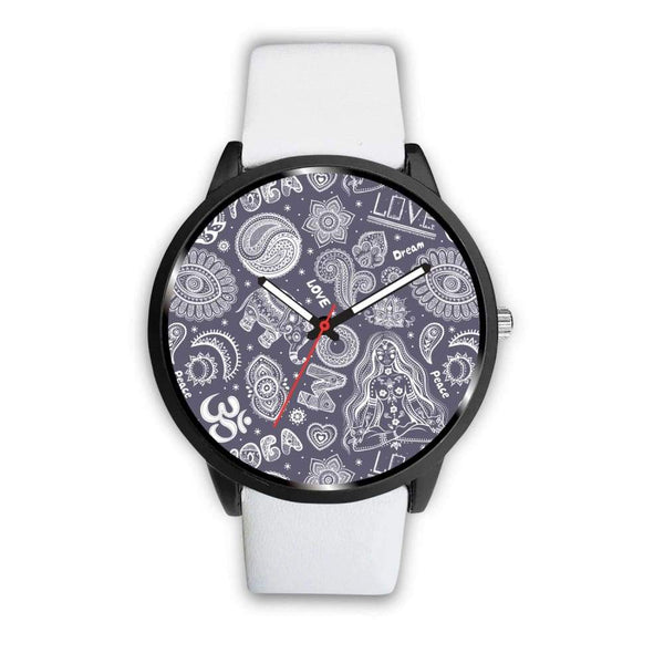 Yoga Om Lucky Elephant Lotus Buddhist Design Custom-Designed Wrist Watch - Mens 40Mm / White - Watch