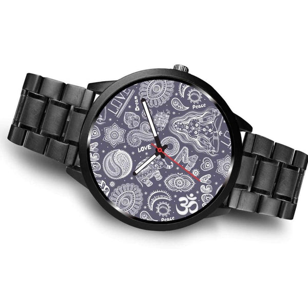 Yoga Om Lucky Elephant Lotus Buddhist Design Custom-Designed Wrist Watch - Watch
