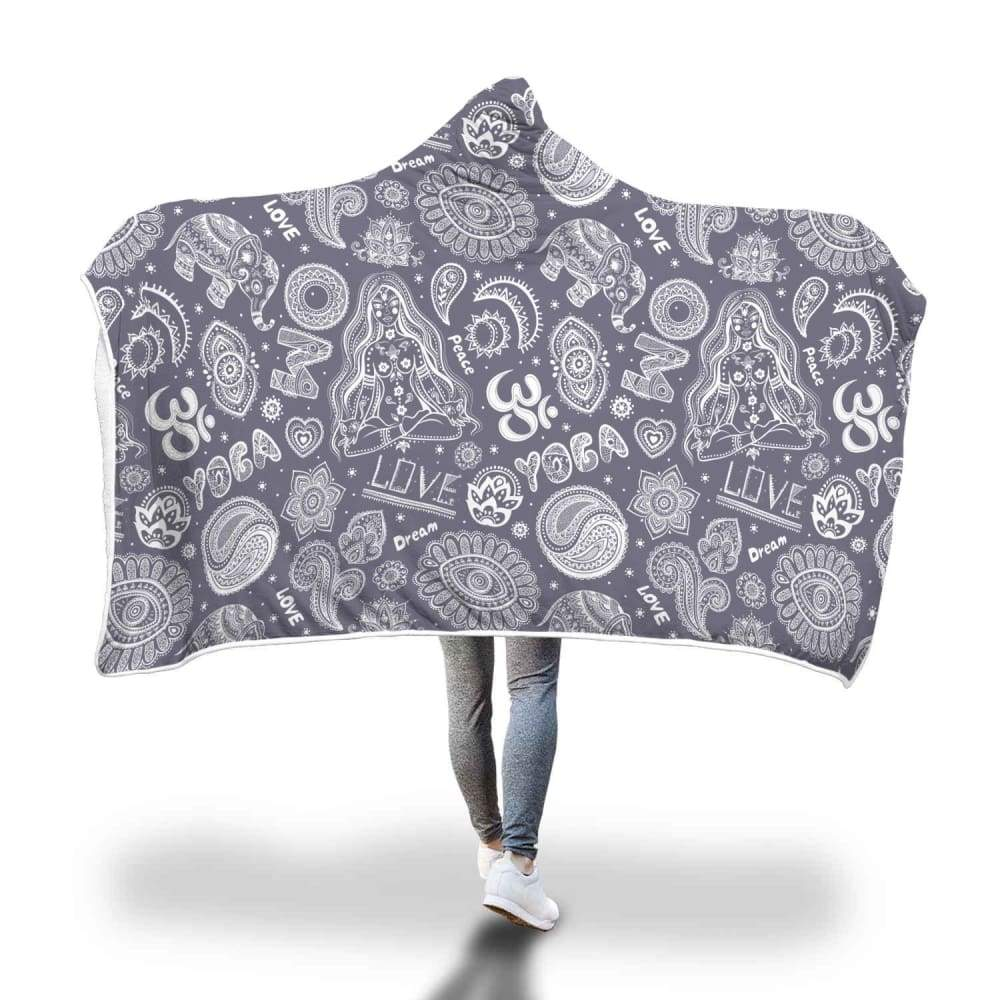 Yoga Om Lucky Elephant Lotus Buddhist Design Hooded Snuggle Meditation Blanket - Hooded Blanket
