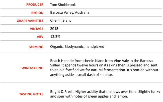 Beach+ 2018 - Tom Shobbrook Wines