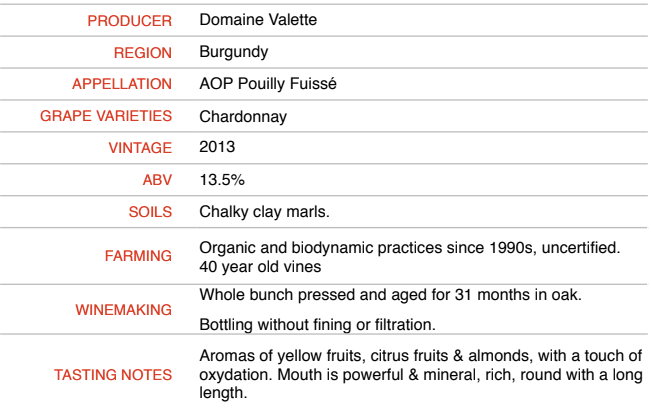 Pouilly Fuisse Tradition 2013 - Domaine Valette - SOLD OUT