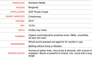 Pouilly Fuisse Tradition 2013 - Domaine Valette