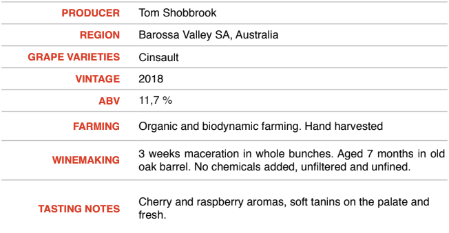 Cinsault 2018 - Tom Shobbrook Wines
