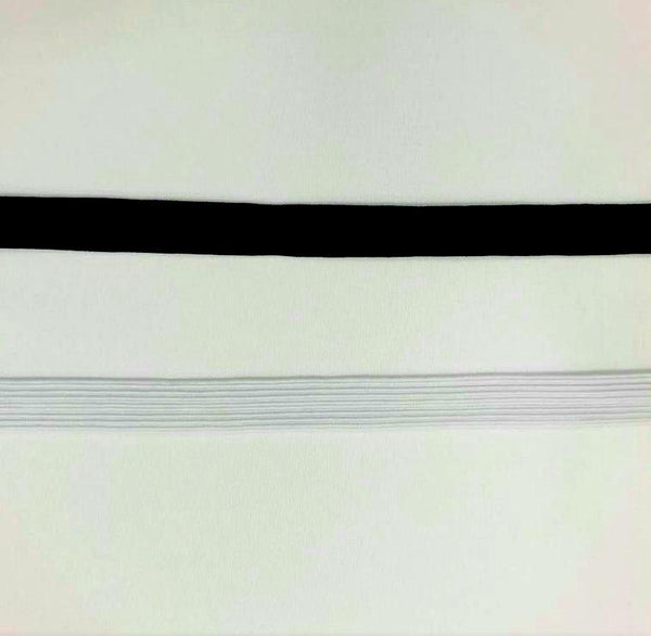 black and white braided elastic in various widths. Fabric Focus